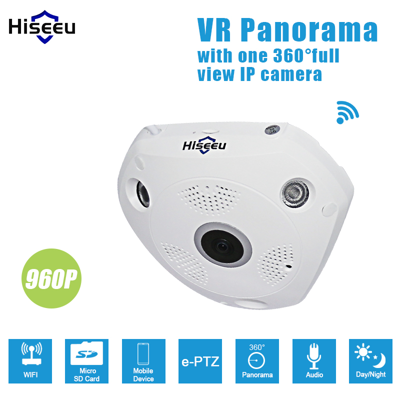 HD 960P WiFi Panoramic Camera 360 Degree e-PTZ Fisheye Network IP CCTV Camera phone Remote audio VR camera erasmart hd 960p p2p network wireless 360 panoramic fisheye digital zoom camera white