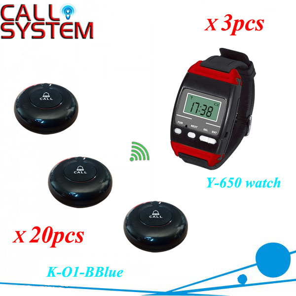 Guest paging calling system wireless watch reciever 3pcs Y 650 with 20pcs 100% waterproof bell button