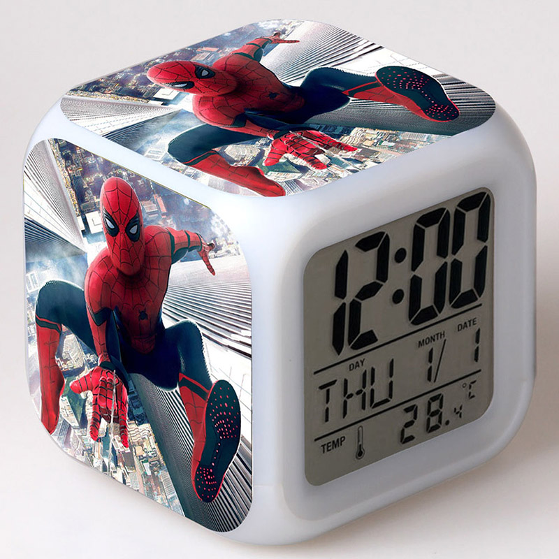 Spider-man homeComing Anime Figurine LED Clock Alarm Colorful Flash Light Spider Man Figure Desk Watch Toys пластилин spider man 10 цветов