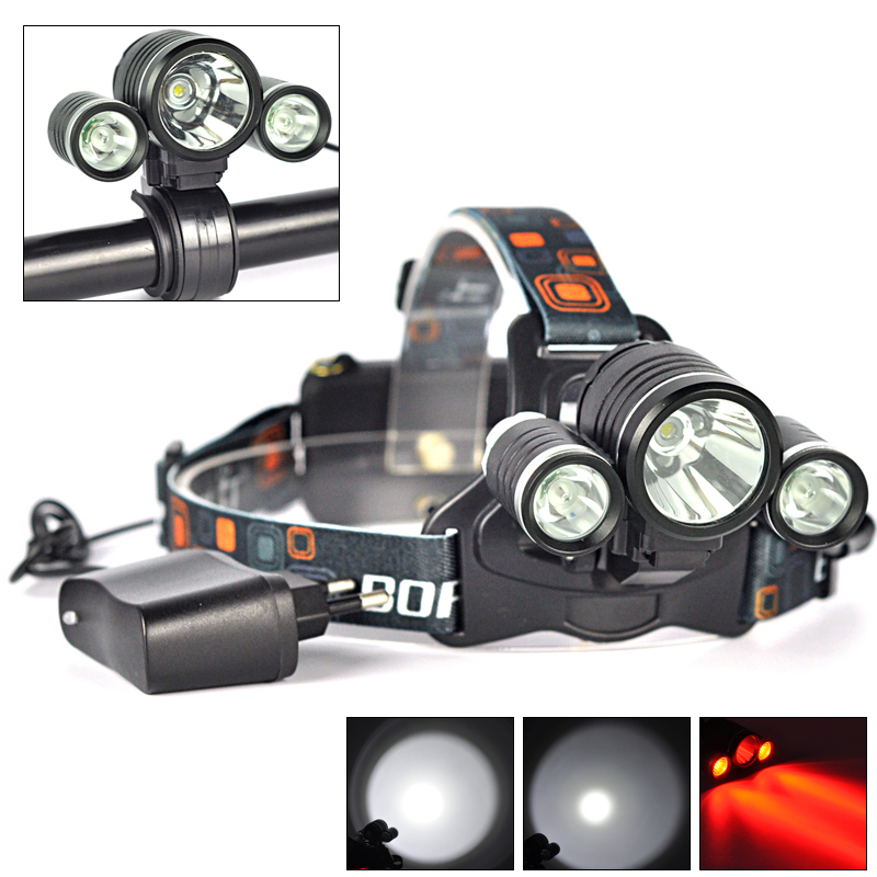 BORUIT 6000LM 3x XM-L T6 White+2R5 Red LED Bicycle Head Light Headlamp Torch+AC Charger