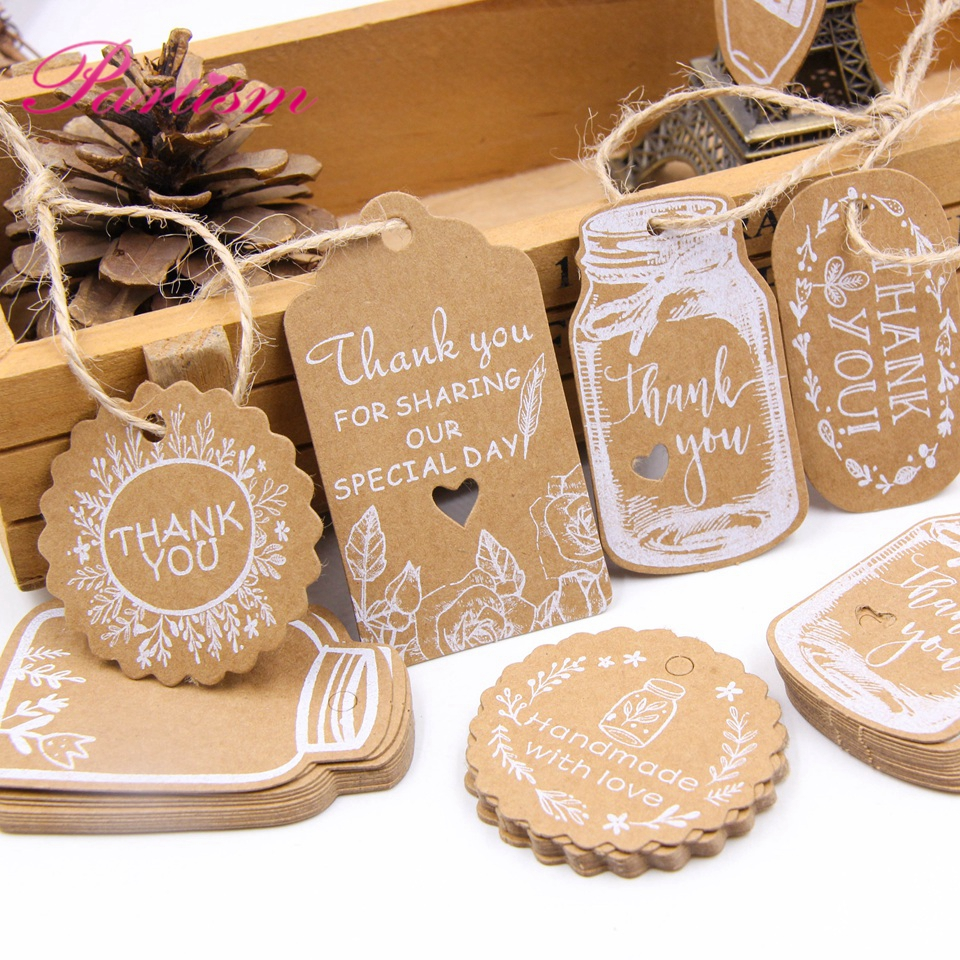 50PCS Kraft Paper Tags DIY Handmade/Thank You Multi Style Crafts Hang Tag With Rope Labels Gift Wrapping Supplies <font><b>Wedding</b></font> Favors image
