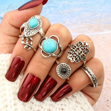 2018 Carved Silver Gold Color Flower Round Midi Ring Sets Knuckle Rings for Women Ladies Finger Vintage Boho Anel(China)