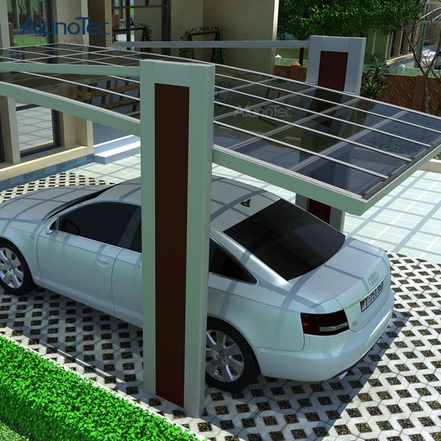 En aluminium c t pull abri voiture ext rieure couverture de l 39 abri 5 5 m longueur x 3 m largeur - Largeur garage pour 2 voitures ...