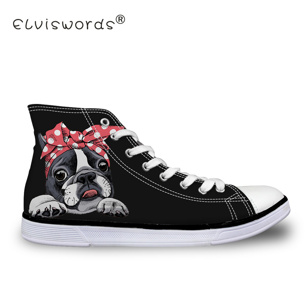 ELVISWORDS Cute Bulldogs Canvas Shoes Women Lace Up Black Flats Students Flat Sneakers High Top Zapatilla Lady Girls Teenagers instantarts cactus flowers print women summer mesh flat shoes plant design lace up sneakers for lady mujer lightweight flats