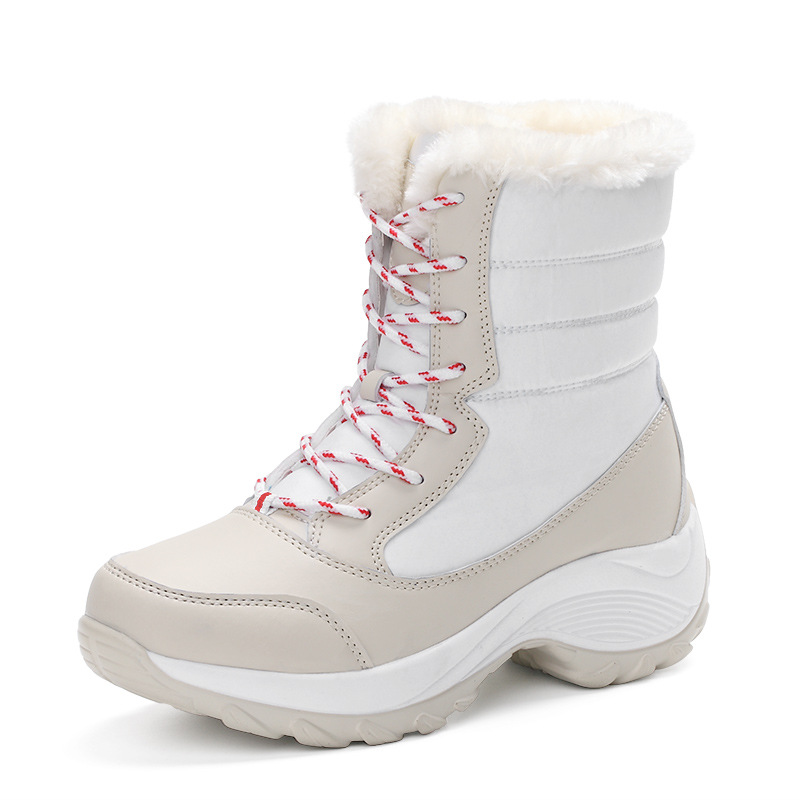 2019 New Women Boots High Quality Leather Suede Winter Boots Women Keep Warm Lace-up Waterproof Snow Boots 2