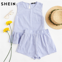 SHEIN Women Two Piece Sets Blue Ruffle Hem Sleeveless Striped Crop Top With Shorts Set Vacation