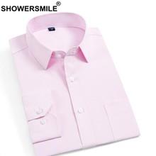 bac9efd0fb CHUVEIROS Camisas Formais Dos Homens Vestido de Algodão Rosa Camisa  Masculina Slim Fit Sarja Regulares Sociais