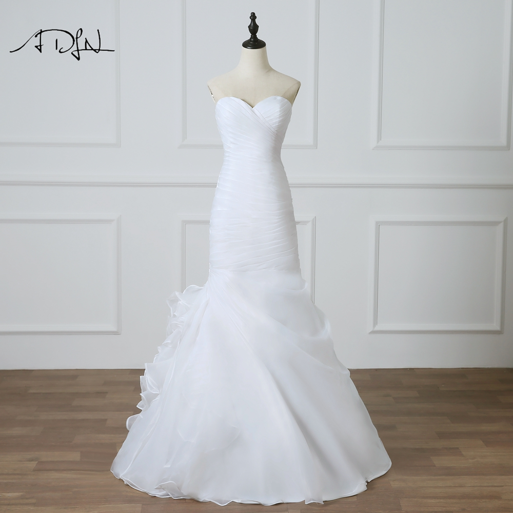 ADLN Mermaid Wedding Dresses  Sweetheart Sleeveless Lace-up Back Organza Ruffle Bridal Gown White/Ivory Robe de Mariage