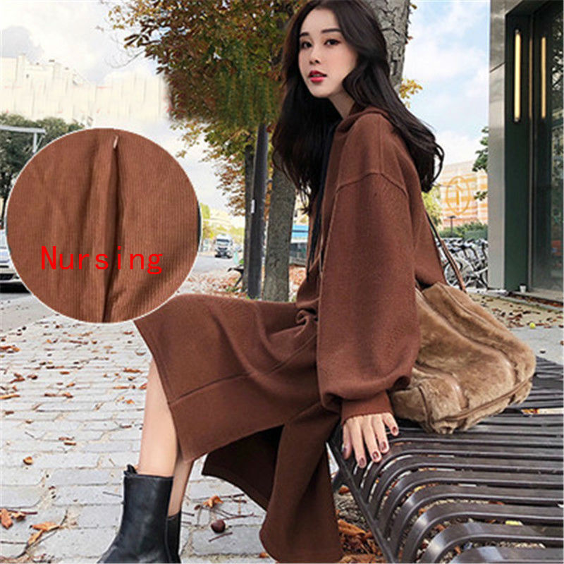2019 Maternity Clothes Hooded Long Sweatshirt Dress For BreastFeeding Pregnant Women Outfits Nursing Dress For Feeding Pregnancy