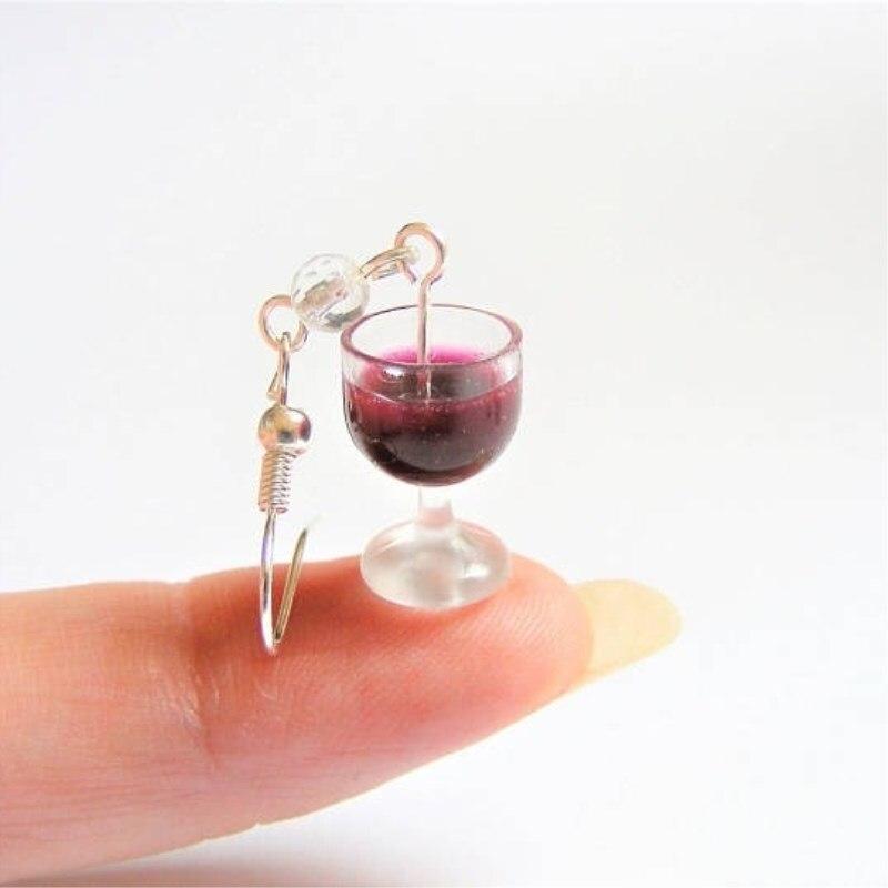 Серьги для вина, миниатюрные серьги с пищвыми продуктами, миниатюрные пищевые украшения ручной работы, миниатюрные пищевые украшения, пода...