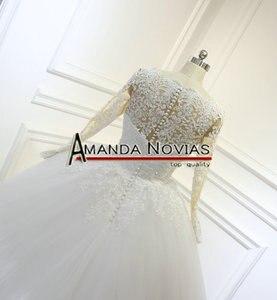 Image 5 - 2018 최신 레이스 볼 가운 웨딩 드레스 누드 컬러 스킨 레이스 슬리브 백리스 브라 가운