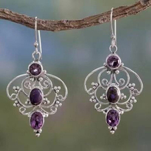 Винтажные фиолетовые висячие серьги с кристаллами для женщин, женские висячие серьги ручной работы, Висячие свадебные серьги, ювелирные изделия