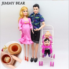 Subcluster 6 Pcs/lot Dolls Family Educational Real Pregnant Doll Happy for Barbies