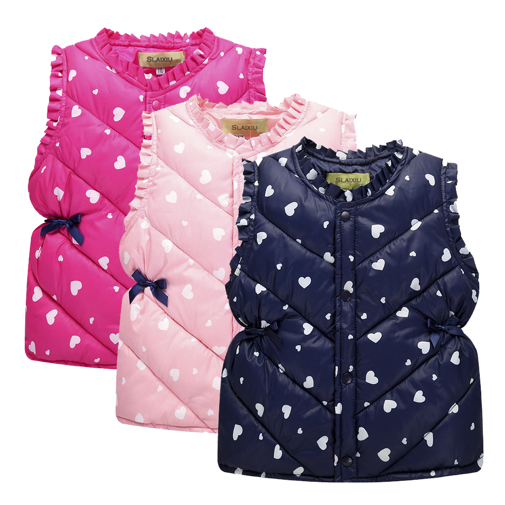 Cute Print Children's Vests Girls Seeveless Outerwear Jackets Cotton Warm Kids Vest For 3-8Years Girl Waistcoat Children Clothes цена