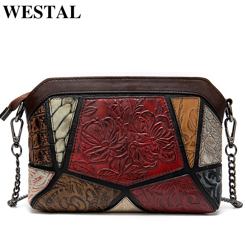 WESTAL Shoulder Bags for Women Vintage Women's Bag Genuine Leather Embossing Shell Bag Female Messenger/Crossbody Bags Handbags
