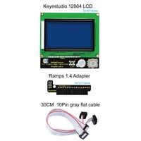 Spedizione gratuita! Keyestudio 3 D stampante controller RAMPE 1.4 LCD 12864 pannello di controllo LCD (blu) per Arduino 3 D stampante