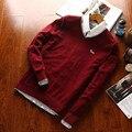 2016 nouveau hommes chandails pulls O-cou solide 100% coton slim fit Broderie Harmont et Blaine doux chandails