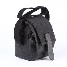 CADEN Canvas Camera Bag Waterproof Compact Video Digital Shoulder RuckSack Gadget Bag for Canon Nikon SLR - Sooty Black