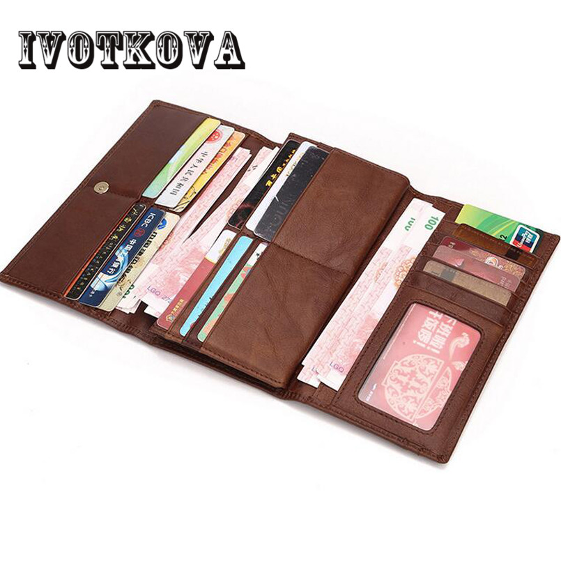 IVOTKOVA Leather Wallet Long Purse Wallet Luxury Male Genuine Leather Wallet Men Zipper Purse Male Wallet Leather Purse Men 2017 winter coat women jacket parka casual outwear military hooded thickening cotton coat winter jacket fur coats women clothes