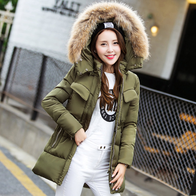 2016 new winter fashionable handsome military outfit in the long section of female cotton thickened size slim padded tide sky blue cloud removable hat in the long section of cotton clothing 2017 winter new woman