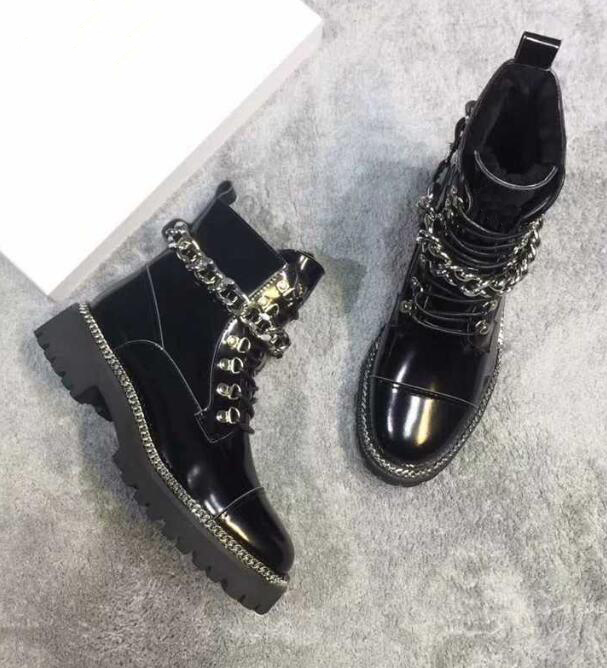 Carpaton Autumn Newest Short Boots Real Leather Round Toe Chains Decoration Lace up Riding Boots Woman Thick Heels Ankle Boots|Ankle Boots| |  - title=