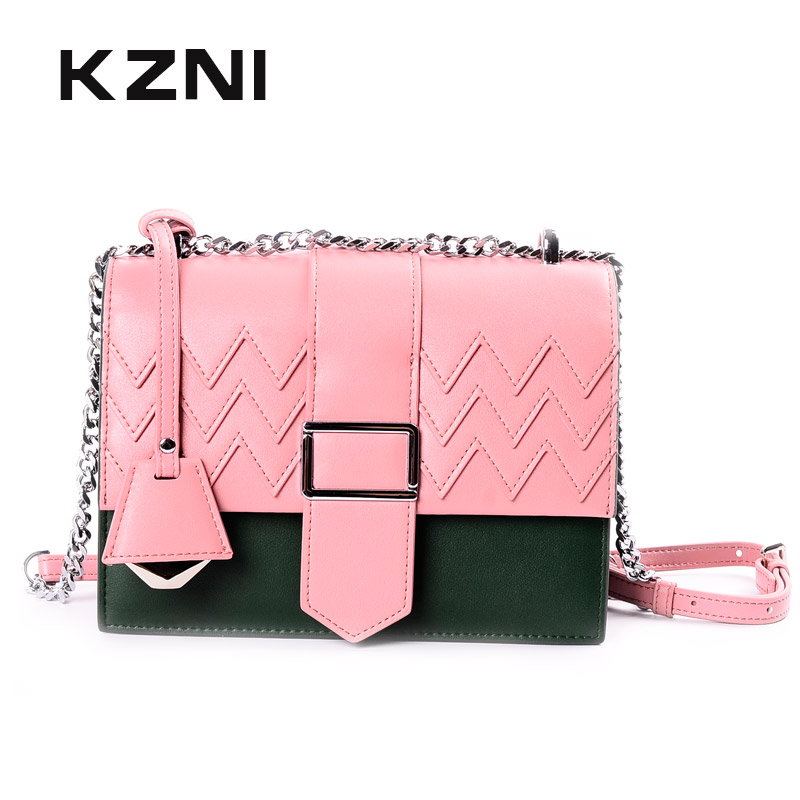 KZNI Women Handbag Genuine Leather Bag with Chain Leather Shoulder Bag High Quality Luxury Sac a Main Femme Bolsa Feminina 9031 kzni genuine leather bag female women messenger bags women handbags tassel crossbody day clutches bolsa feminina sac femme 1416
