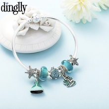 DINGLLY Princess Dresses Mermaid Charm Bracelet For Women Men Girls Original Starfish Shells Blue Glass Beads Bangle Gift