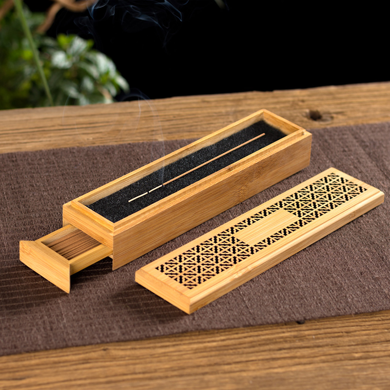 PINNY 100 Pcs Natural Bamboo Incense Burner Double Layer Stick Base Room Decoration Meditation Zen Box