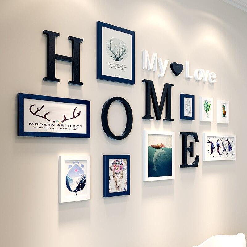 Европейский стиль домашний дизайн Свадебная любовь фоторамка украшение стены деревянная фоторамка набор настенная фоторамка набор, белый черный - 2