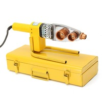220V 8Pcs Automatic Electric Welding Tool Heating PPR PE PP Tube Welded Pipe Welding Machine+ Heads+ Stand+Box Yellow