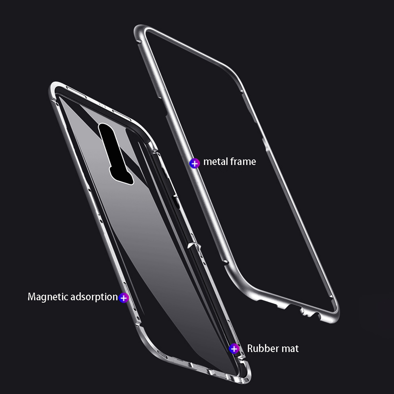 Image 2 - Magnetic Adsorption Phone Case For OnePlus 7 Pro One Plus 6T Tempered Glass Back Cover For Oneplus 6 5T Luxury Metal Clear Case-in Flip Cases from Cellphones & Telecommunications