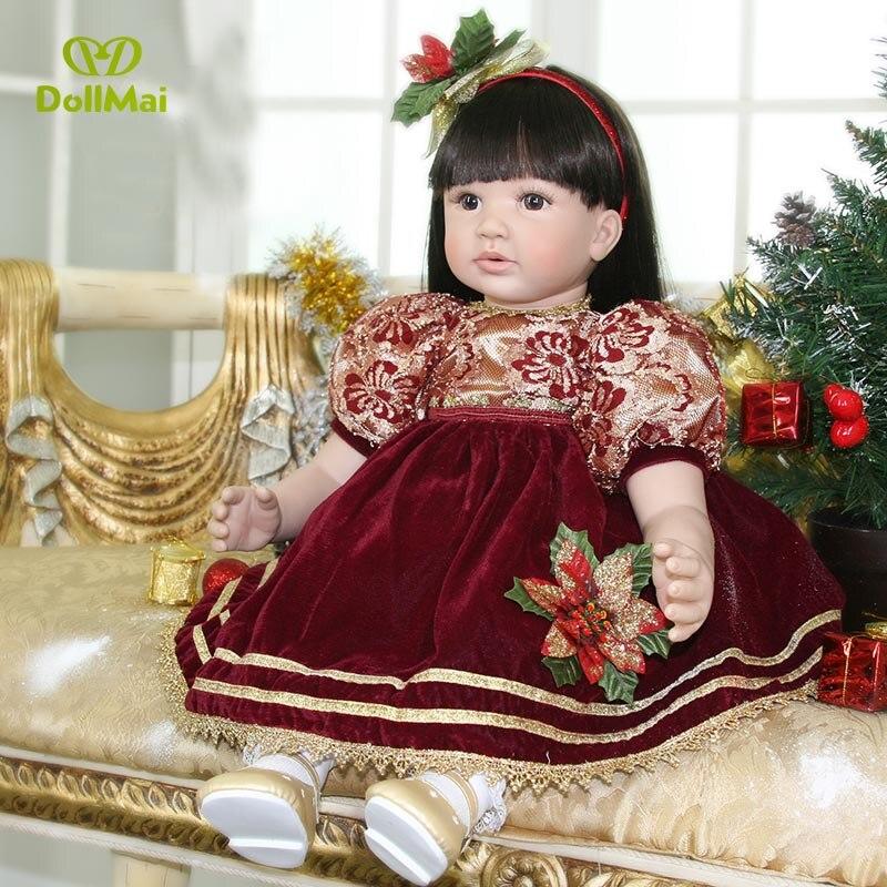 Fashion brand reborn baby dolls 60cm  vinyl silicone reborn baby girl dolls toys  for children birthday gift bebe boneca