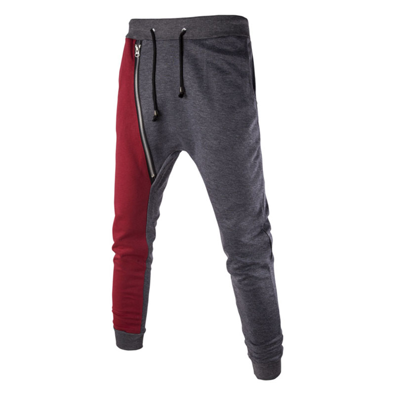 2017 Autumn Spring Mens Joggers Casual Pants Personality Diagonal Zipper Spell Color Sli ...