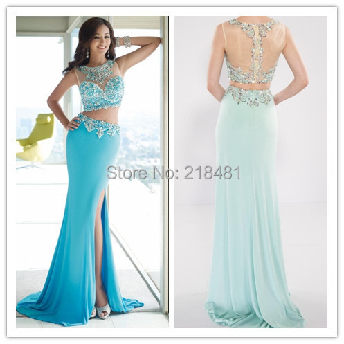 Fashion Sheer NecSexy Mermaid Front Split Crystals Beaded Zipper 2015 Two Piece Prom Dresses Evening Party Elegant - Amy Boutique store