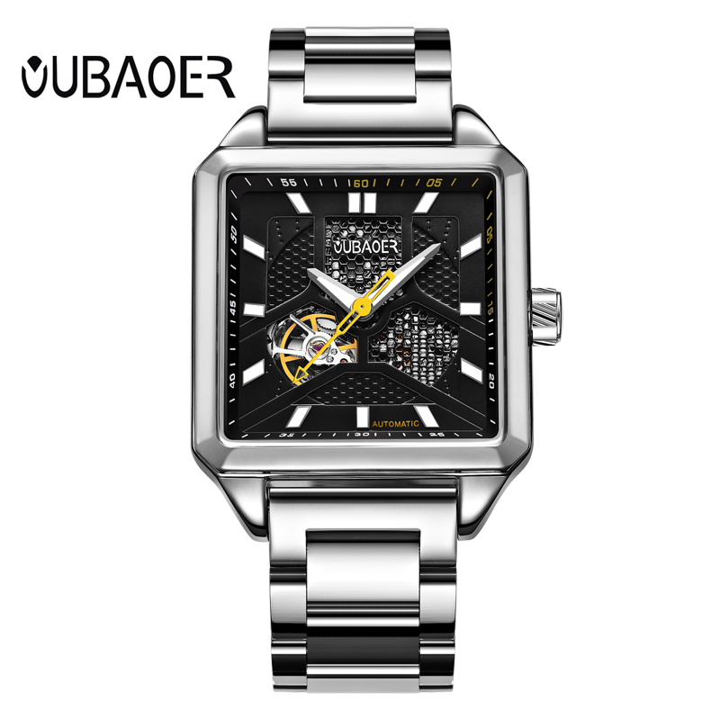 OUBAOER Automatic Mechanical Men Watch Top Brand Luxury Stainless Steel Mens Watches Military Sport Skeleton Male Clock Hot tevise men black stainless steel automatic mechanical watch luminous analog mens skeleton watches top brand luxury 9008g