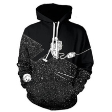 Cloudstyle 2017 Fashion Men 3D Hoodies Space Vacuum Cleaner Astronaut 3D Print Hooded Sweatshirt Tracksuit Polluvers Tops