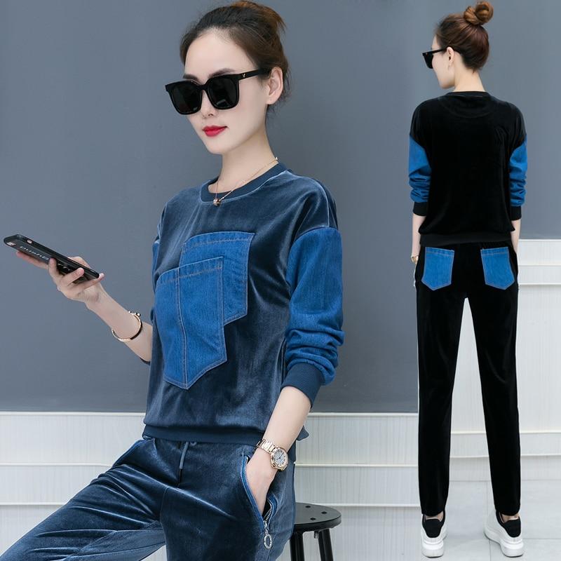 Otoño 2018 nuevo diseño ocio traje suelto de dos piezas casual traje coreano moda denim parche terciopelo buena tela sudaderas pantalones XXL - 5