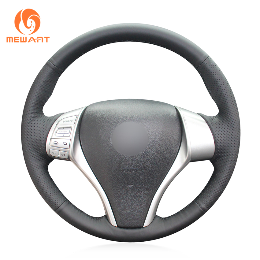 MEWANT Black Artificial Leather Car Steering Wheel Cover for Nissan Teana 2013-2018 Altima 2013-2018 X-Trail 2014-2017 Qashqai artificial leather car steering wheel braid for nissan teana altima 2013 2016 x trail qashqai rogue custom made steering cover