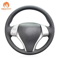MEWANT Black Artificial Leather Car Steering Wheel Cover for Nissan Teana 2013 2018 Altima 2013 2018 X Trail 2014 2017 Qashqai