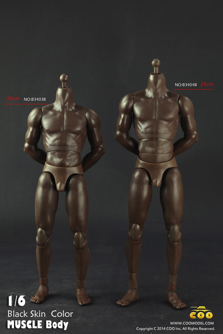 ФОТО coomodel coo 1/6 muscle male body b3403b/b3404b black skin color nude action figure toys fit ht dolls diy