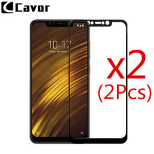 hot deal buy 2pcs 9h tempered glass for xiaomi pocophone f1 case full cover glass mobile phone accessories screen protector film for poco f1