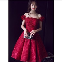 Flower Wine red O neck short homecoming dresses 2017 robe de soiree longue vestido de festa longo A line gown formal Dress TK051