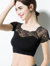New Wommen Sexy Lace Off Shoulder Crop Tops with Bra Short Sleeve Harajuku Bare Crochet Top Female Cotton T-Shirt