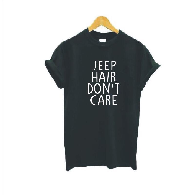 Jeep cheveux ne soins T-shirts à manches courtes col rond lâche lettre imprimé blanc noir coton femmes t-shirt hauts Harajuku t-shirts occasionnels