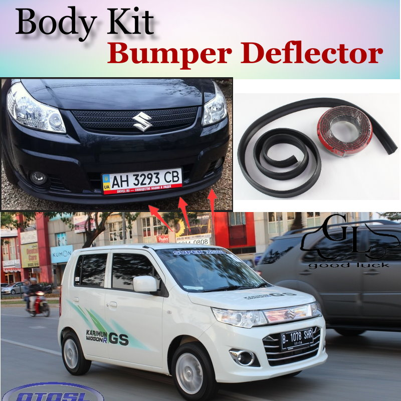 Bumper lip deflector lips for suzuki karimun wagon r solio front spoiler skirt for topgear car tuning body kit strip in spoilers wings from