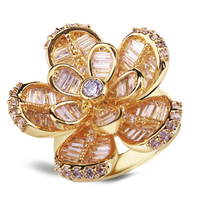 ดอกไม้คริสตัลแหวนตั้งประดับเพชรแหวนหินสำหรับผู้หญิงอุปกรณ์จัดงานแต่งงานวันหยุดขายจัดส...