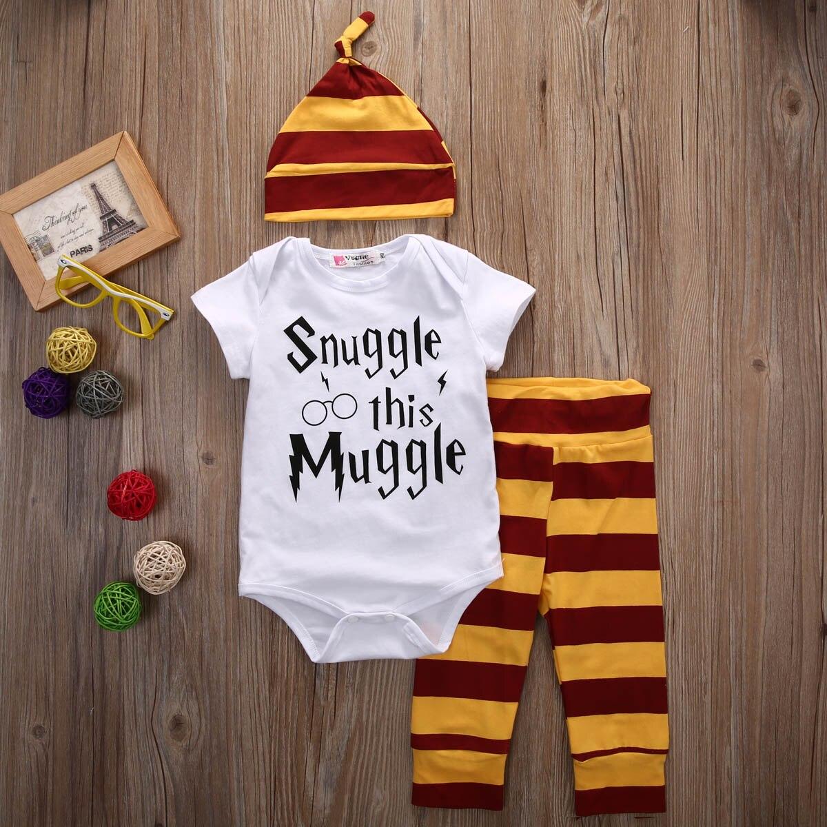 3 unids Bebé Ropa set bebé recién nacido Niños Niñas letra muggle Mono/camiseta + de la raya Pantalones + los equipos del sombrero ropa 0-18 m Super lindo