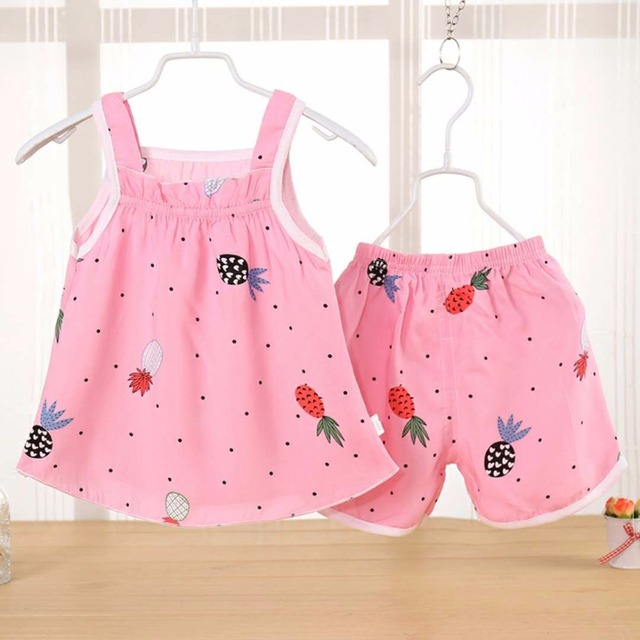 ac1a25e83bd Siyuebebe Baby Girl Summer Clothes Sets 2PCS Cotton Kids Baby Girl Dresses  Newborn Infant Baby Sports Fruits Printed Tracksuits