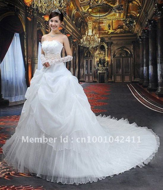 Free Shipping Best Selling Lace Strapless Bridal Wedding Dresses 2012 Custom Size Color Wholesale
