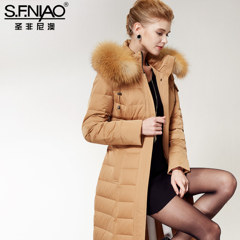2016 Winter Fashion Jacket New Female Tide Long Slim Knee Fox Fur Parka Womens Down Jackets With Collar